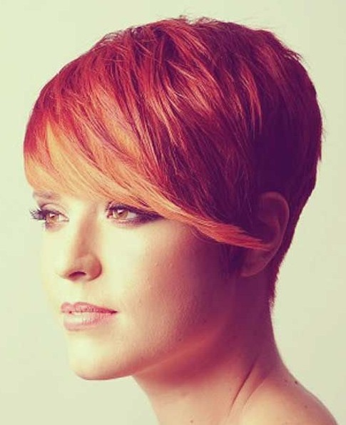 Colored Short Hairstyle With Side Bangs