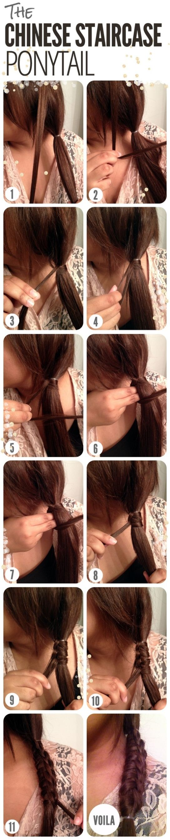 DIY Chinese Staircase Ponytail Hairstyle via