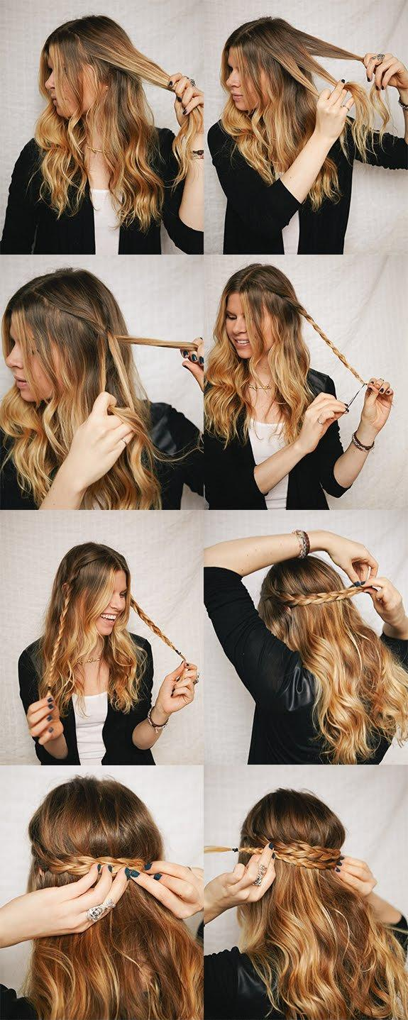 DIY Half Up Braided Crown Hairstyle via