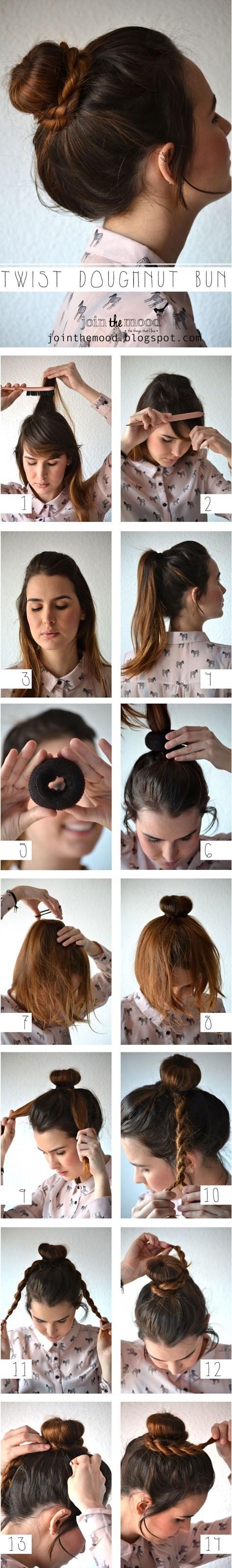 DIY Twist Doughnut Bun Hairstyle via