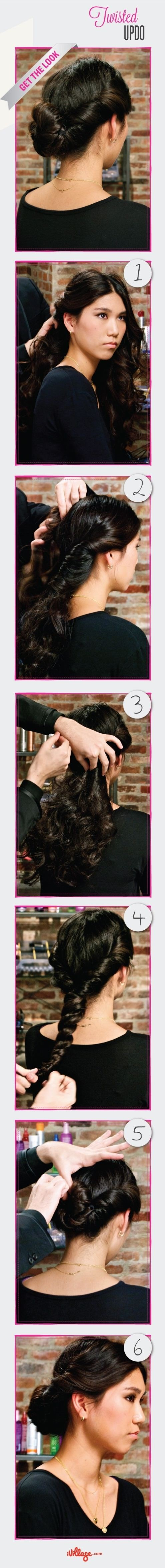 DIY Twisted Updo Hairstyle via