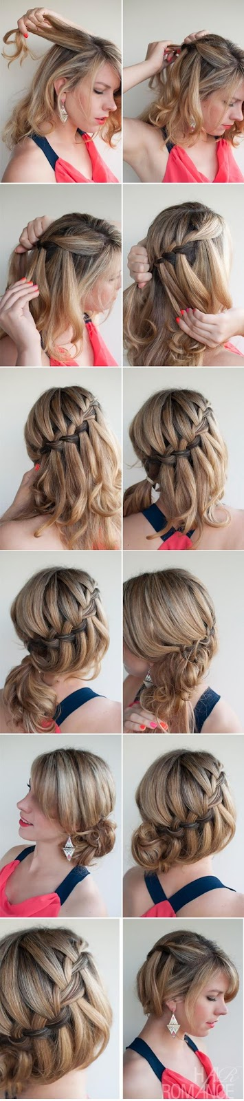 DIY Waterfall Braided Bun Hairstyle via