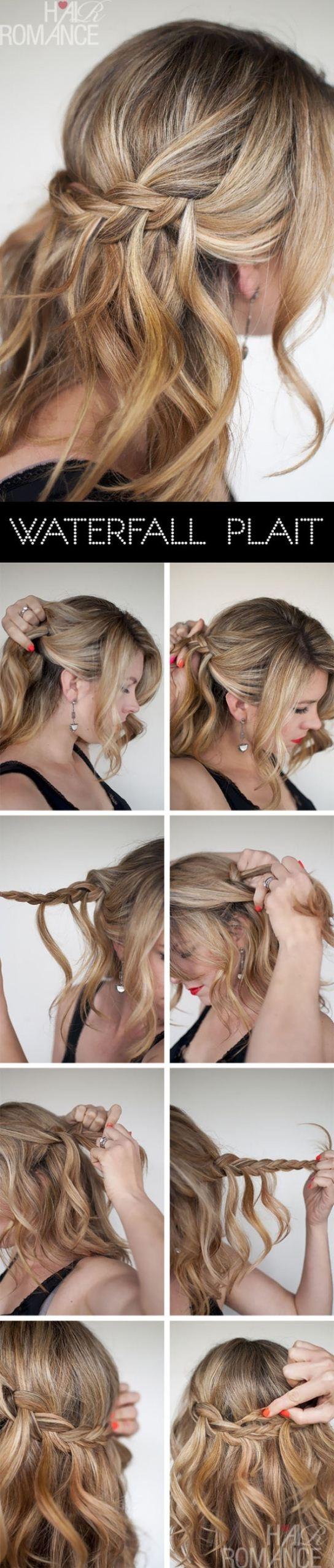 DIY Waterfall Plait Hairstyle via