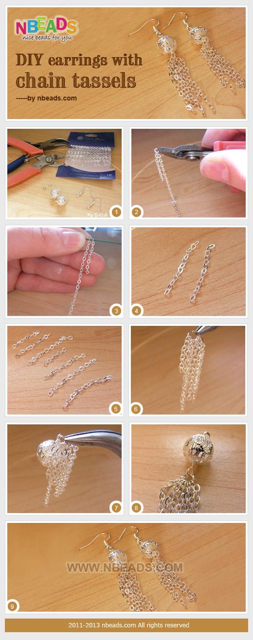 Earrings with Chain Tassels
