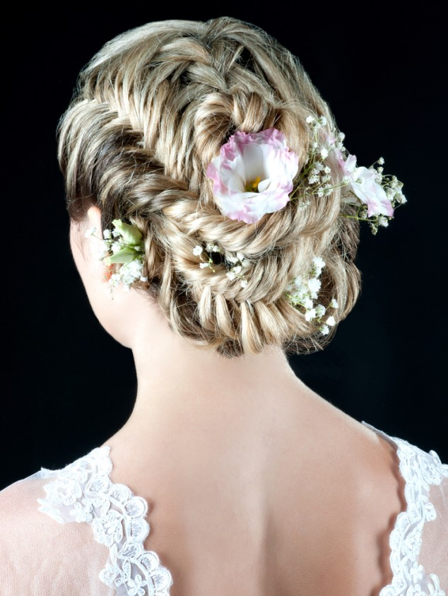 Fishtail Braid Bun Floral Bride Hairstyle via