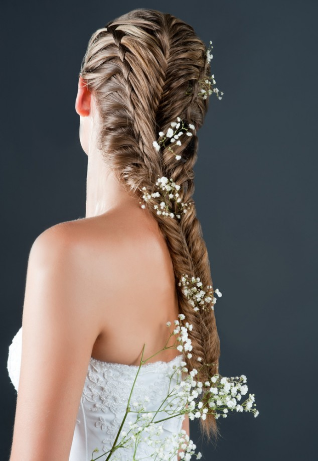 Fishtail Braid Floral Bride Hairstyle via