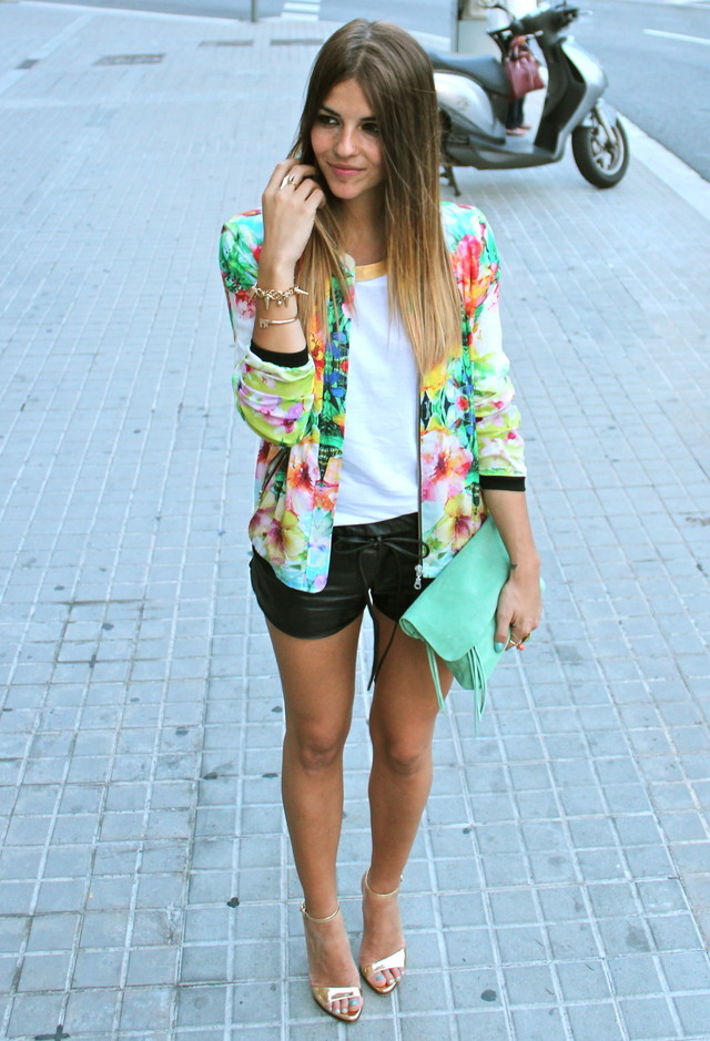 Floral Blazer Outfit with Black Shorts
