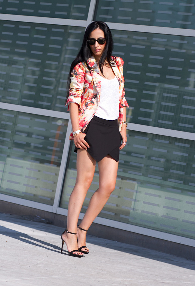 Floral Blazer Outfit with Black Skorts