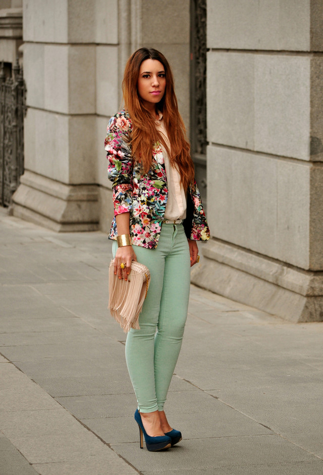 Floral Blazer Outfit with Colored Jeans