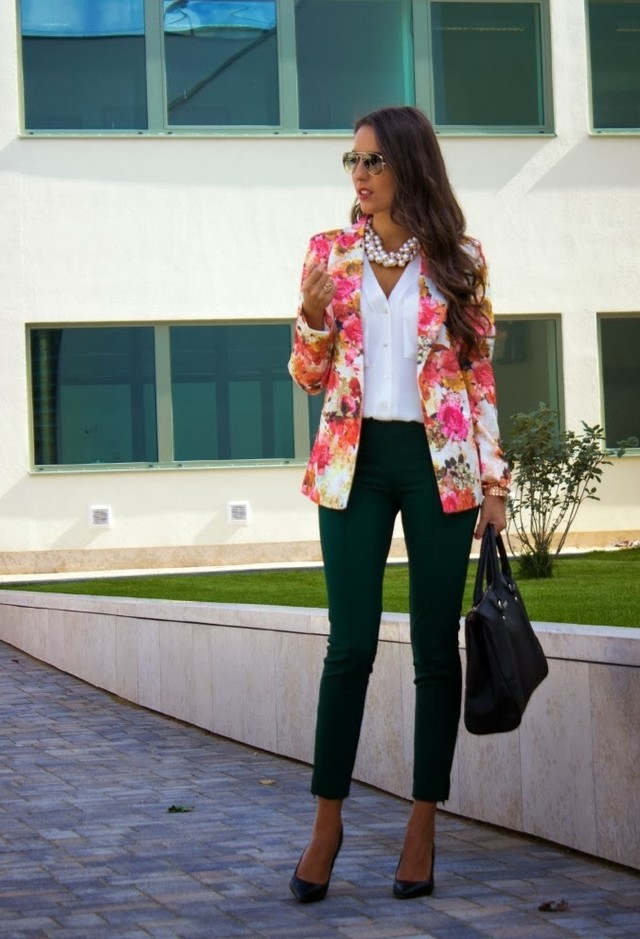 Floral Blazer Outfit with White Blouse