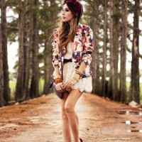 Floral Blazer Outfit with a Lace Skirt