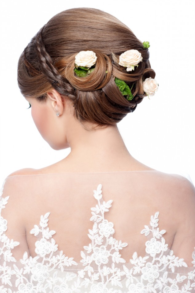 Floral Bun Bride Hairstyle via