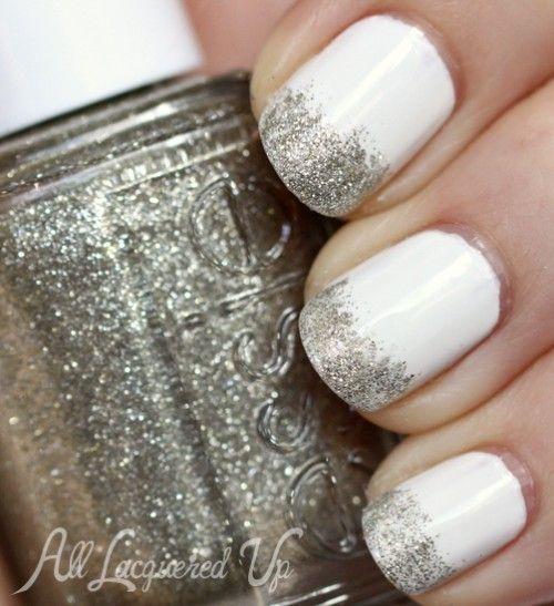 Glitter White Nails