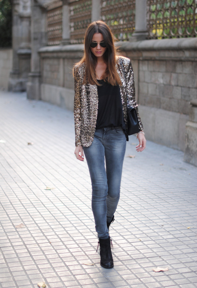 Golden Sequined Jacket for Party