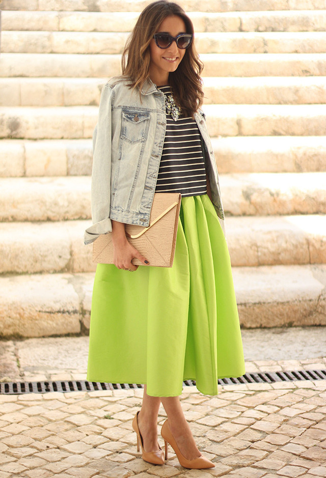 Grass Green Midi Skirt Outfit