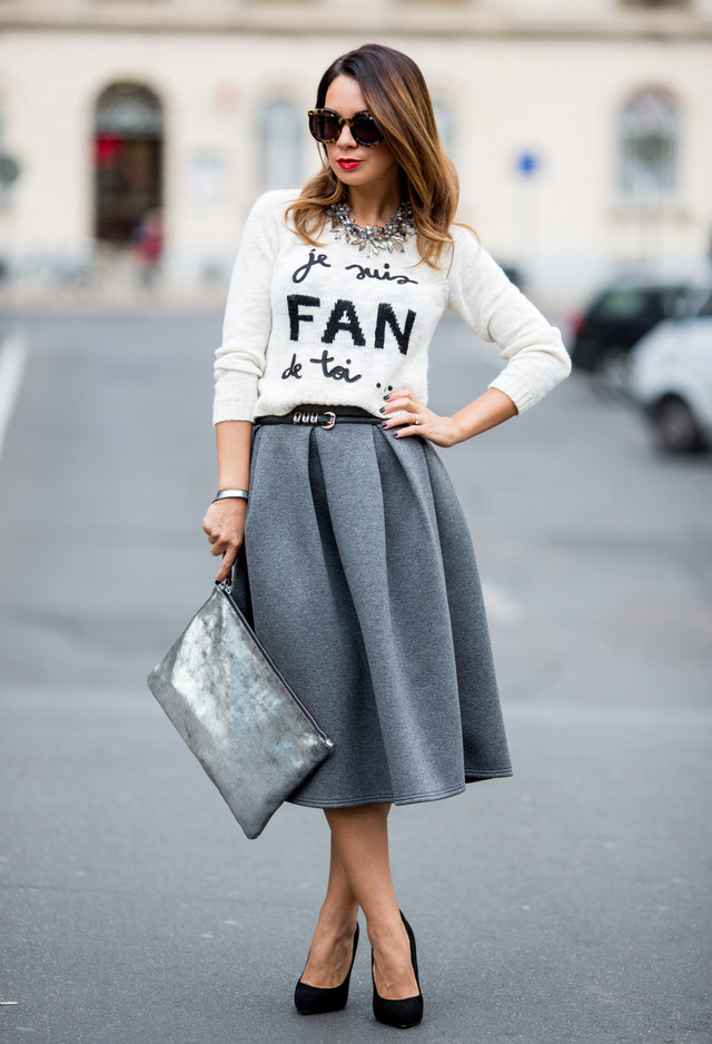 Gray Midi Skirt Outfit