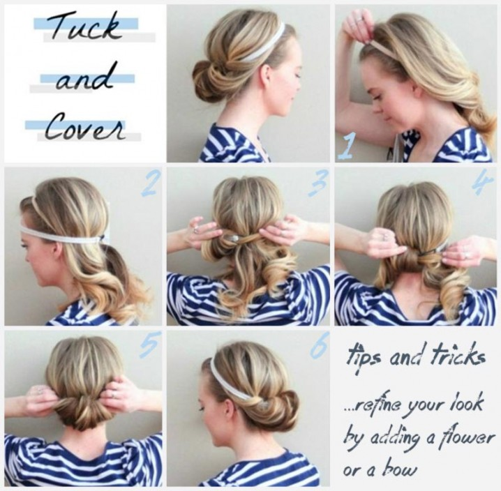 10 fabulous diy hairstyles with hair accessories pretty designs heaband tucked hair tutorial solutioingenieria Images