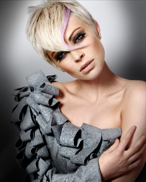 Highlighted Blond Pixie Hairstyle