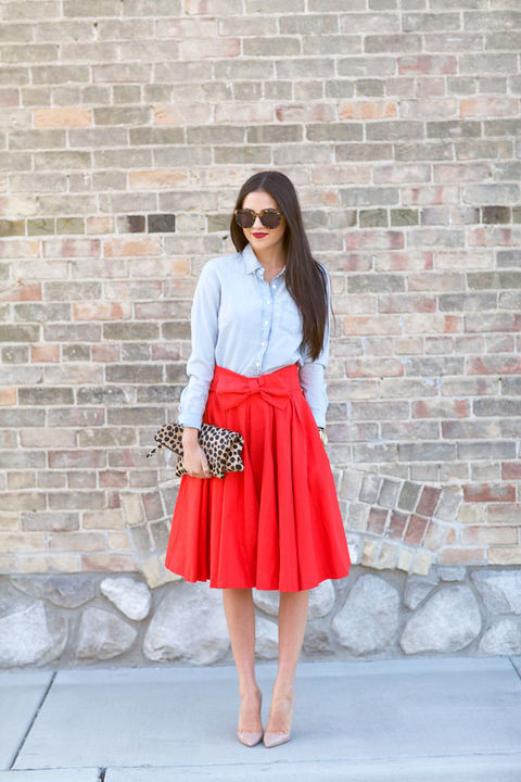 Hot Red Midi Skirt Outfit