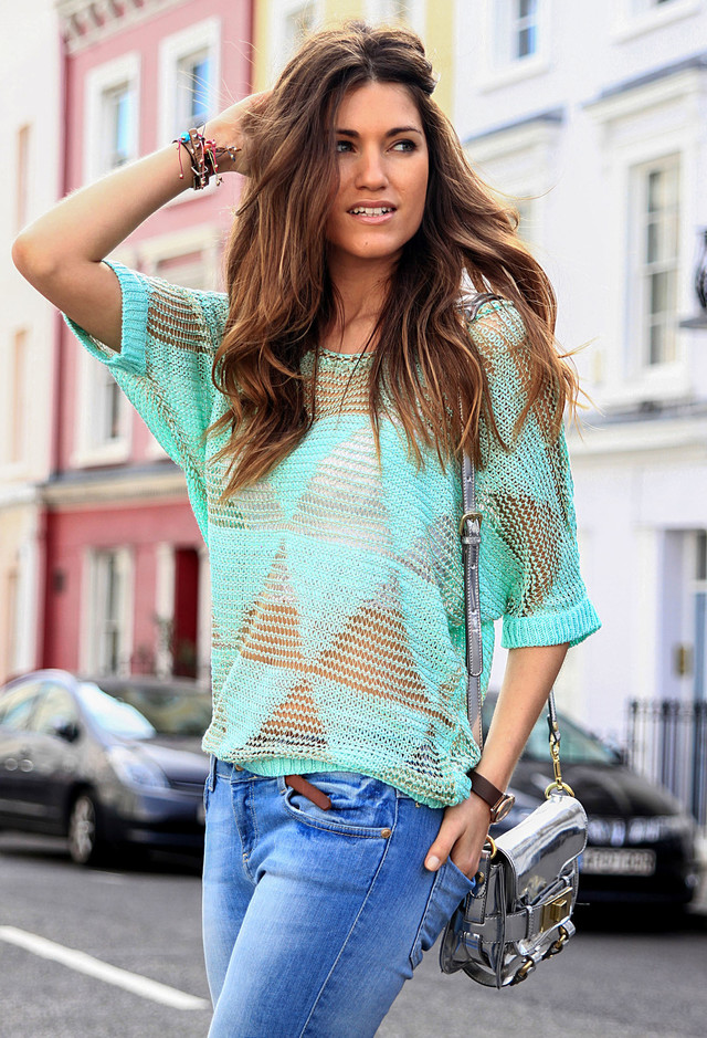 Knitted Blouse Outfit Idea for a Street Style