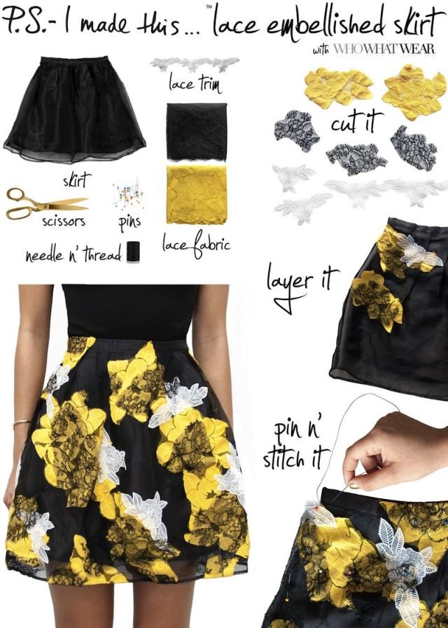 Lace Embellished Skirt