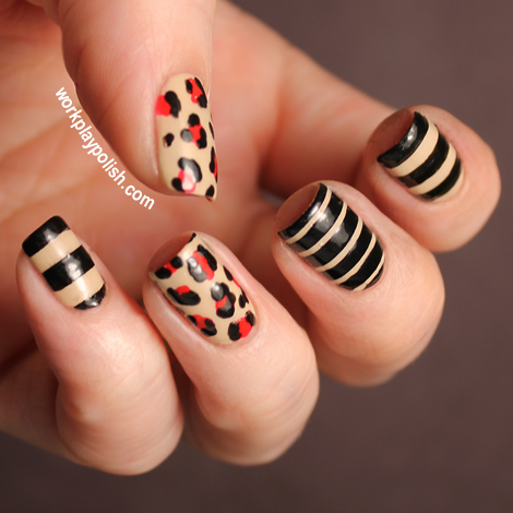 Leopard and Striped Nails