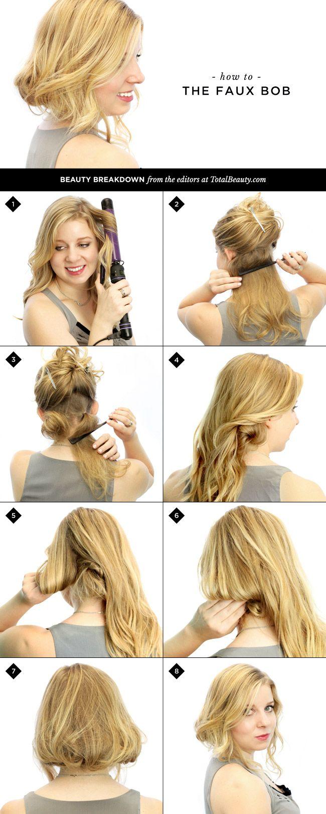 How to Make Long Hair Short: Faux Bob Hair Tutorials - Pretty Designs