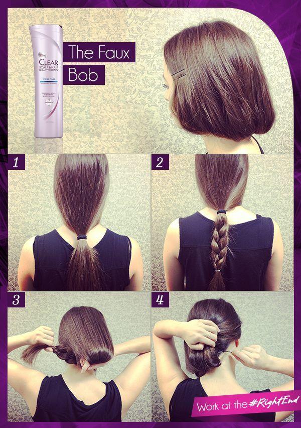 Hairstyles for long hair how to make : How to make long hair short faux bob tutorials pretty designs