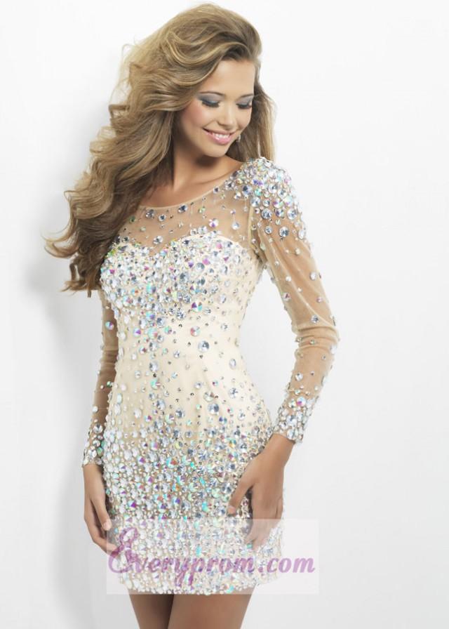 Long Sleeves Nude Crystals Sheer Short Dress With Deep V-Back