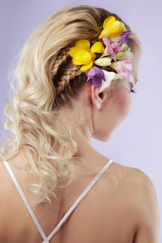 Long Wavy Braid Floral Bride Hairstyle via