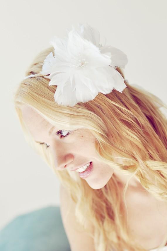 Long Wavy Floral Bride Hairstyle via