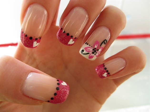 Nails with Flowers and Hearts