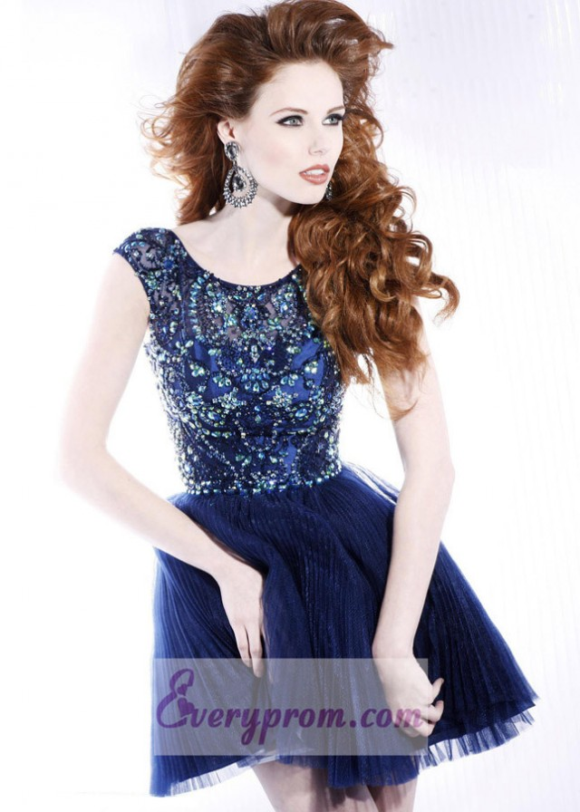 Off-Shoulder Navy Beaded Pleated Party Prom Dress