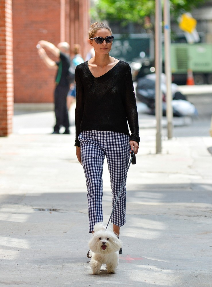Olivia Palermo Cropped Gingham Pants/Bauer Griffin