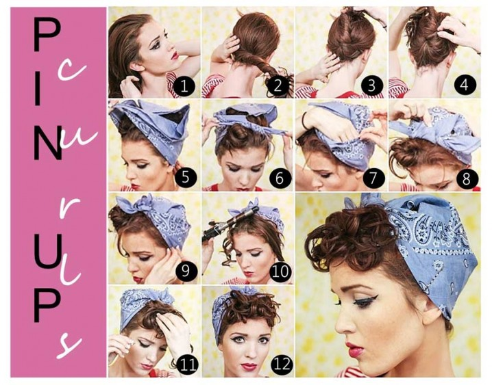 Pin Up Curls With Bandana Vintage Hairstyle