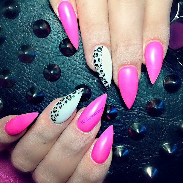 Pink Nails with Animal Print