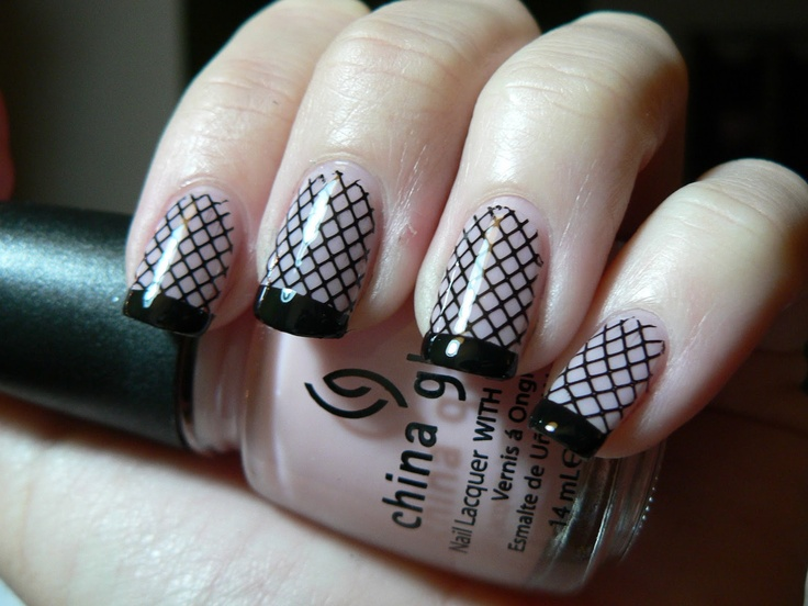 Pink and Black Fishnet Nails