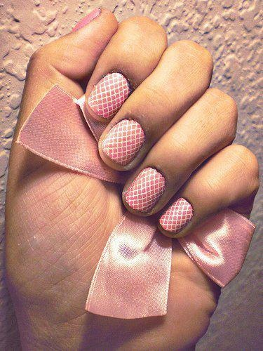 Pink and White Fishnet Nails