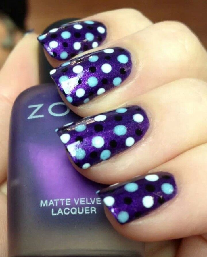 Purple Nails with Dots