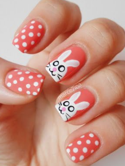 Red Nails with Bunny