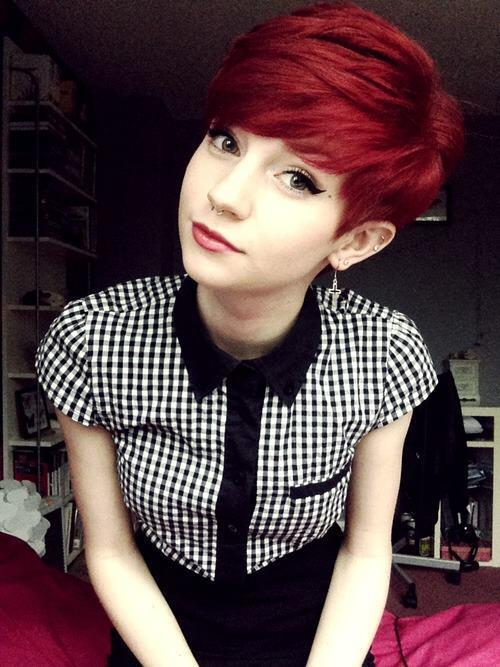 Red Short Hairstyle With Side Bangs