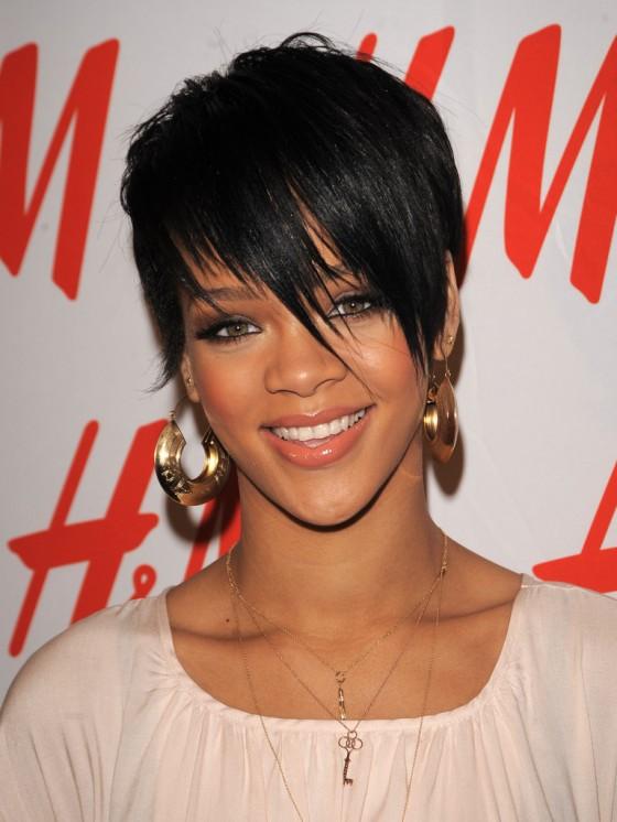 Rihanna, short hairstyle with fringe