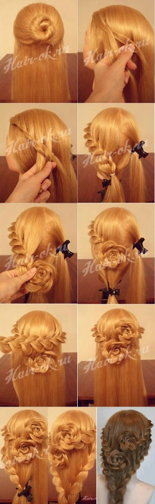 Rose Bud Flower Braid Hairstyle