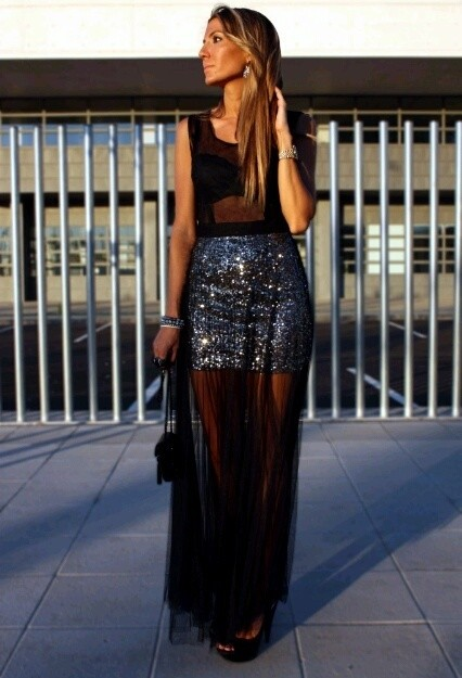 Sequined Sheer Skirts for Party