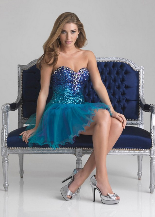 Sequins Jewels Sweetheart Turquoise Short Prom Dress