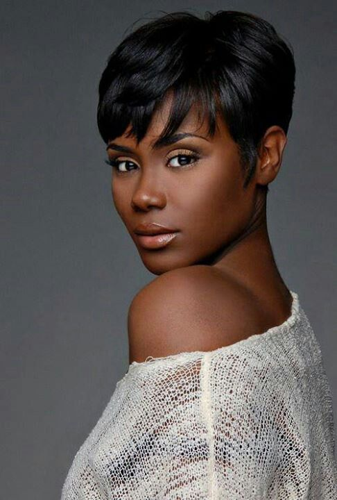 Short Black Hairstyle With Side Bangs
