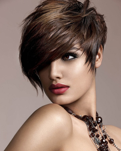 Short Brown Hairstyle With Side Bangs