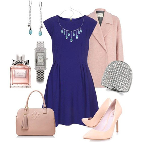 Spring Polyvore Combinations in Baby Pink: Stylish Navy Blue
