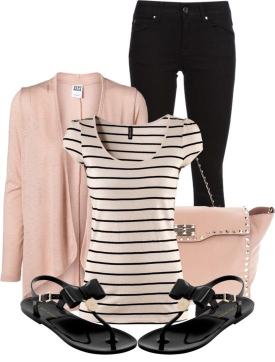 Spring Polyvore Combinations in Baby Pink: Cool Stripes