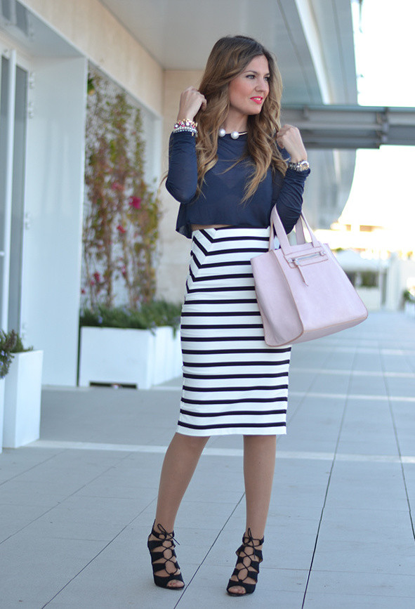 Stripe Midi Skirt Outfit